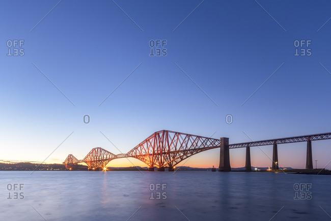 UK- Scotland- Edinburgh- Forth Bridge at sunset