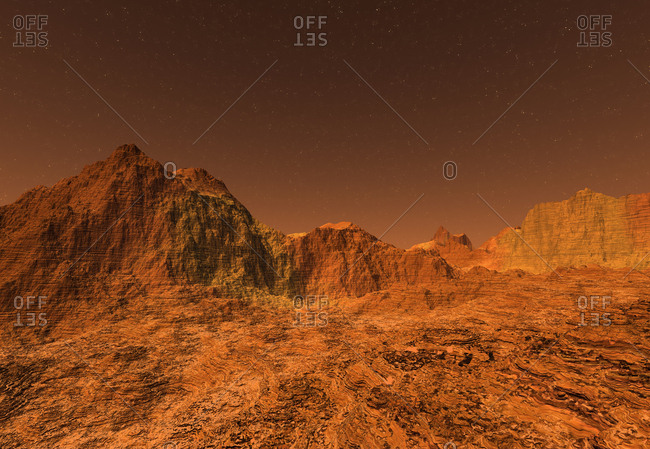 3D rendered Illustration of the surface of Planet Mars