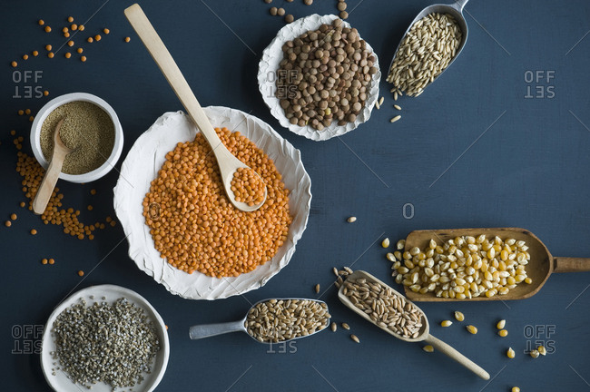 Red lentils- brown lentils- amarant- wheat- spelt wheat and corn in bowls and on spoons
