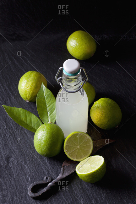 Freshly squeezed lime juice in a swing top bottle