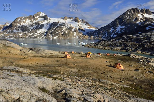 Greenland- East Greenland- Ammassalik Island- tent camp at Sammileq Fjord