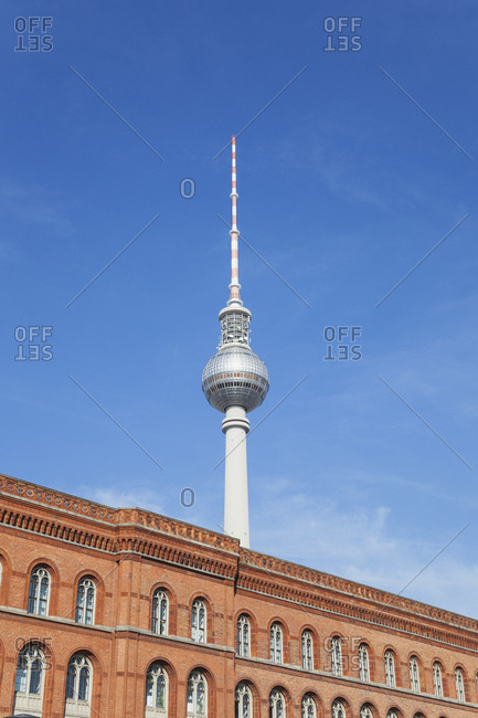 Germany- Berlin- view of television tower and Red City Hall in the foreground