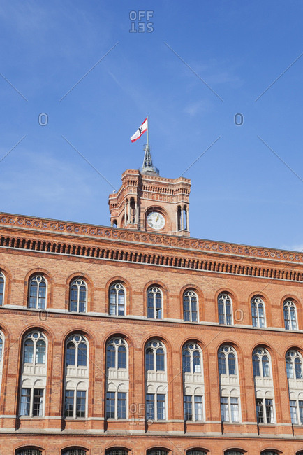 Germany- Berlin- part of facade of Red City Hall with tower