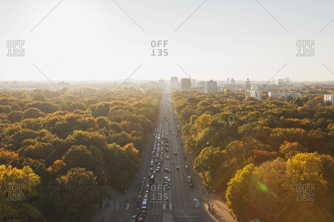 Germany- Berlin- view to Gro§er Tiergarten with Strasse des 17. Juni  from Victory Column in autumn