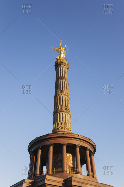 Germany- Berlin- view to victory column against blue sky