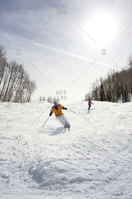 March 15, 2013: USA, Colorado, Aspen, skiers on Silver Queen, Aspen Ski Resort, Ajax