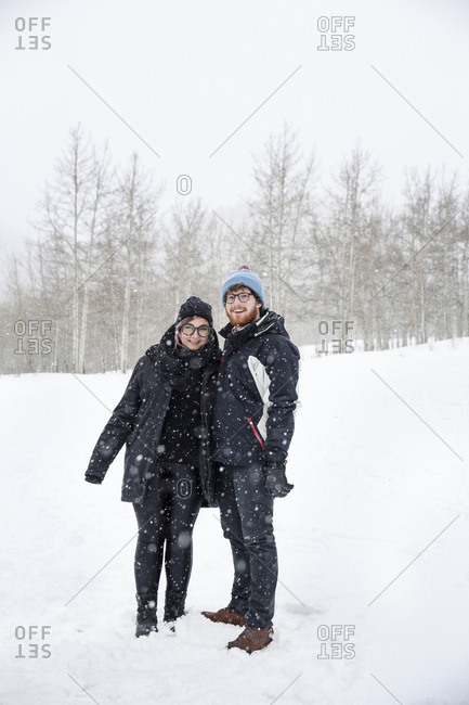 March 16, 2013: USA, Colorado, Aspen, a couple gets ready for the sleigh ride at the Pine Creek Cookhouse, Ashcroft