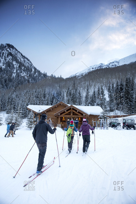 March 16, 2013: USA, Colorado, Aspen, cross country skiers ski to the Pine Creek Cookhouse for dinner, Ashcroft