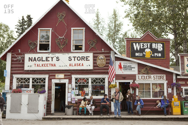 July 14, 2010: USA, Alaska, Talkeenta, Nagley's store and liquor store on Main street in the middle of town