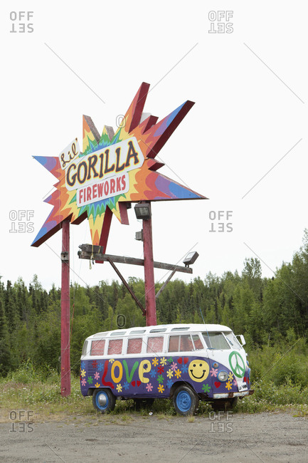 July 13, 2010: USA, Alaska, Talkeetna, a painted peace wagon 15 miles south of Talkeetna near Willow Creek