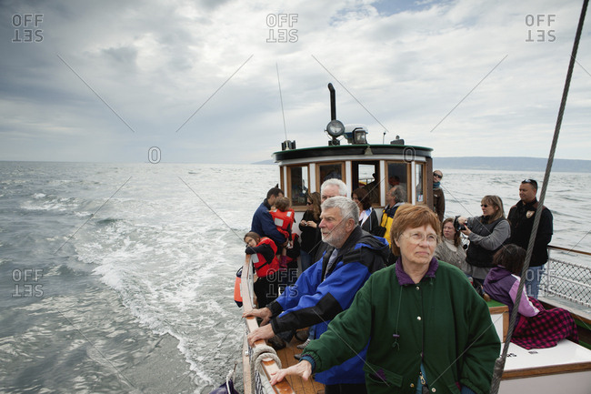 July 12, 2010: USA, Alaska, Homer, tourists take a ride on the Danny J boat from the Homer Spit to Halibut Cove
