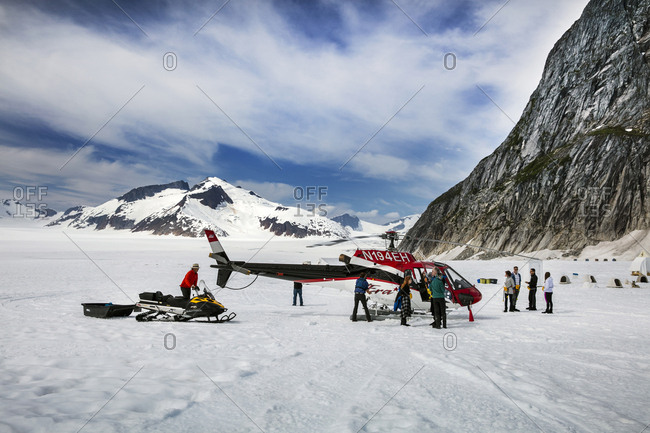 January 1, 2000: USA, Alaska, Juneau, Helicopter Dogsled Tour flies you over the Taku Glacier to the HeliMush dog camp at Guardian Mountain above the Taku Glacier, Juneau Ice Field