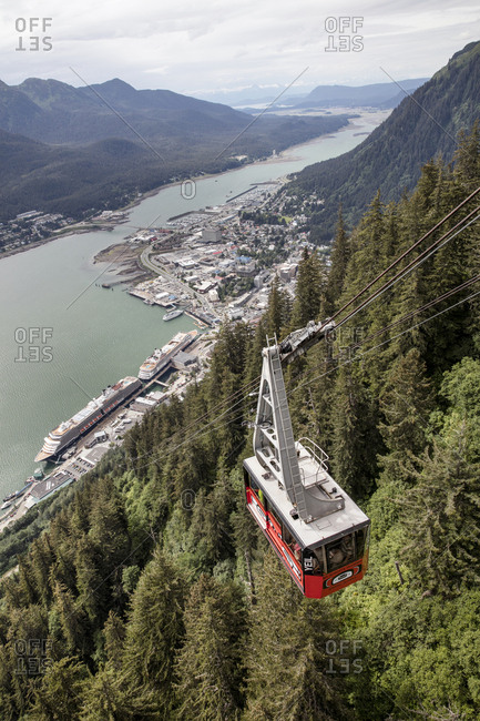 January 1, 2000: USA, Alaska, Juneau, views from the Mount Roberts Tramway of the port in Juneau