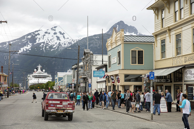 January 1, 2000: USA Alaska, Sitka, individuals walk around and enjoy the historic feel of downtown Sitka