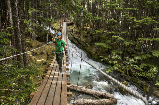 January 1, 2000: USA Alaska, Sitka, the Grizzly Falls Zipline Expedition in the area of Dyea has eleven ziplining stations that take you high in the canopy with views of the Alaskan coastal rainforest