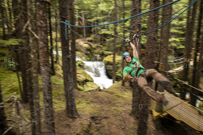 January 1, 2000: USA Alaska, Sitka, participants of the Grizzly Falls Zipline Expedition in the area of Dyea can get flying up to 45 miles per hour