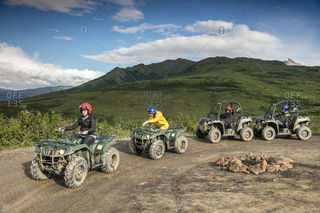 June 29, 2015: USA, Alaska, Denali National Park, ATV tour to Stampede Ridge which takes you through the taiga to picturesque panoramas of the Alaskan Range, Boreal Forest and Dry Creek