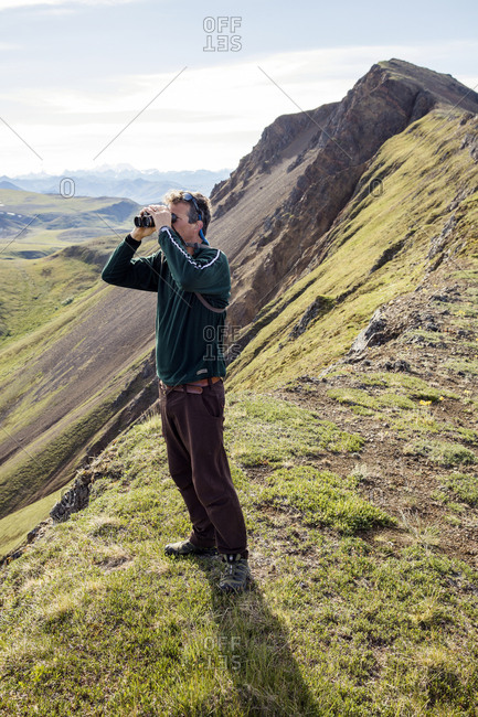 June 29, 2015: USA, Alaska, Denali, Denali National Park, hiking guide and local naturalist Jeffery Ottmers, explains the flora and fauna and teaches the participants how to track animals