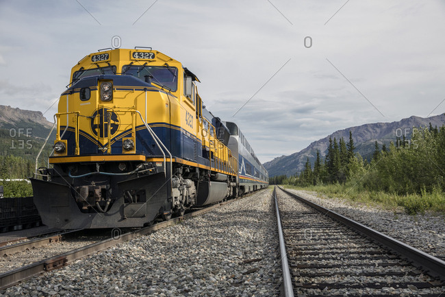 June 30, 2015: USA, Alaska, Denali National Park, the McKinley Explorer can seat 86 to 88 passengers in the upper level dome which offers a 360 degree view, this train is traveling the Alaska Railway from Denali to Anchorage