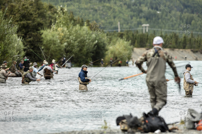 July 28, 2016: USA, Alaska, Coopers Landing, Kenai River, fishermen fishing on the Kenai river
