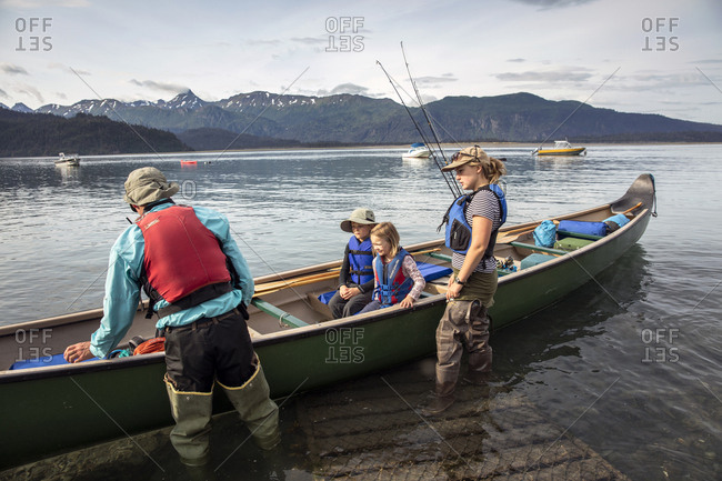 July 29, 2016: USA, Alaska, Homer, China Poot Bay, Kachemak Bay, heading out from the Kachemak Bay Wilderness Lodge by canoe