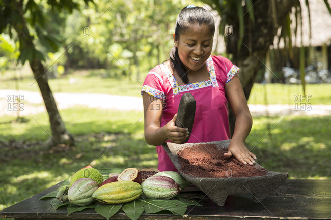 May 28, 2014: BELIZE, Punta Gorda, Toledo, guests can participate in a Bean to Bar Chocolate Making Class where they'll participate in the entire process of transforming high-quality organic cacao into chocolate, Belcampo Belize Lodge and Jungle Farm