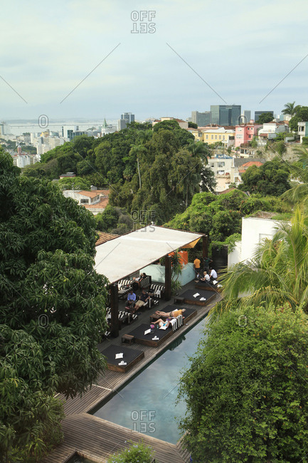 October 24, 2012: BRAZIL, Rio de Janiero, the view of the pool outside of Hotel Santa Teresa