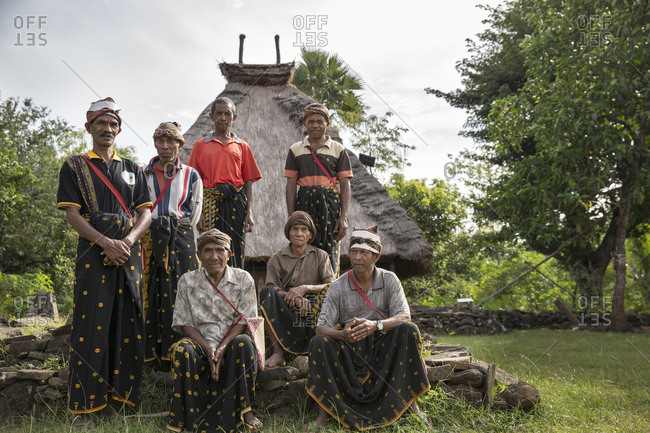 July 16, 2013: INDONESIA, Flores,INDONESIA, Flores, portrait of elder men in the village of Kampung Tutubhada in Rendu