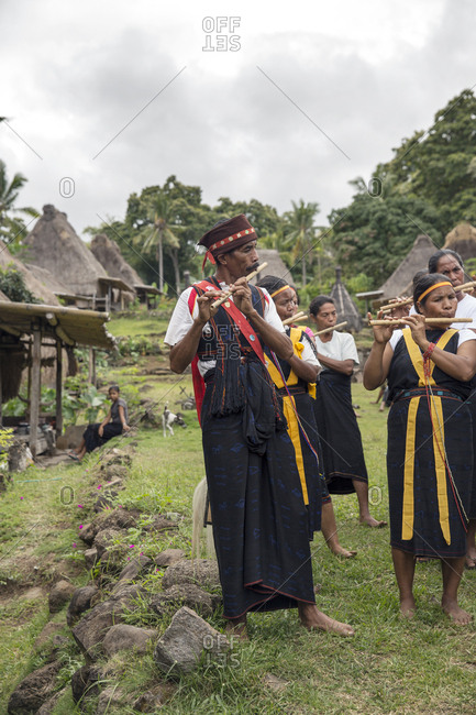July 18, 2013: INDONESIA, Flores, Ngada District, members of Belaraghi village play music to welcome their guests