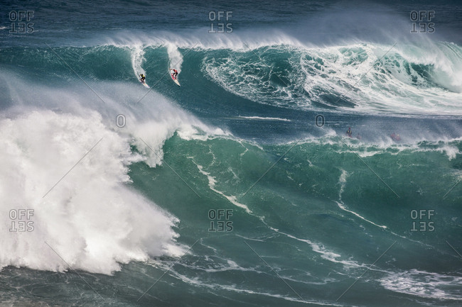 February 26, 2016: HAWAII, Oahu, North Shore, Eddie Aikau, 2016, surfers competing in the Eddie Aikau 2016 big wave surf competition, Waimea Bay