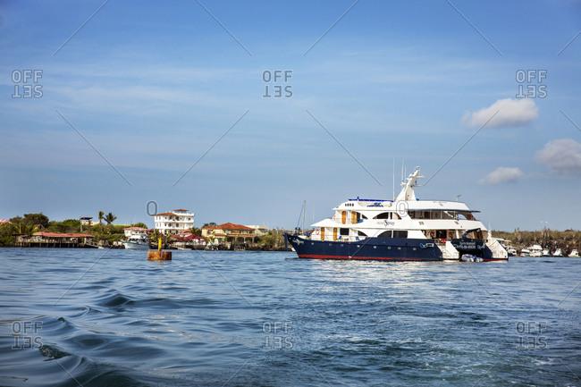 March 26, 2014: GALAPAGOS ISLANDS, ECUADOR, Santa Cruz Island seen from aboard the M/C Ocean Spray