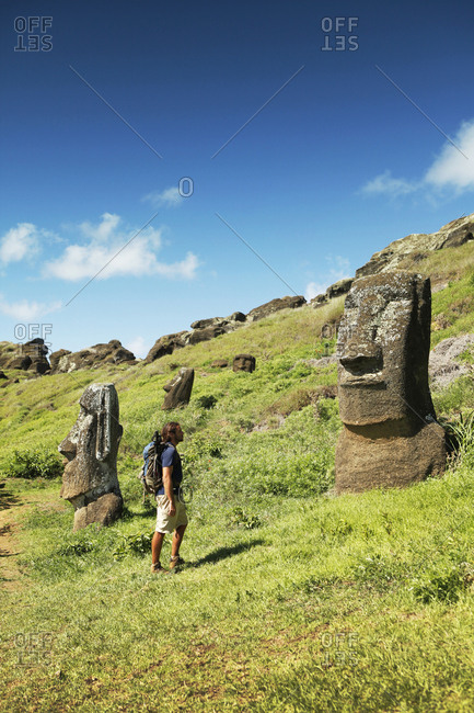 April 6, 2011: EASTER ISLAND, CHILE, Isla de Pascua, Rapa Nui, Rano Raraku is a volcanic crater on the lower slopes of Terevaka, it supplied nearly 95% of the island's known Moai sculptures and is still home to 397 Moai statues