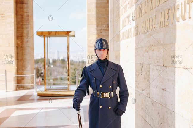 Ankara, Turkey - March 3, 2019:  Portrait of guard at the Ataturk Mausoleum - An?tkabir