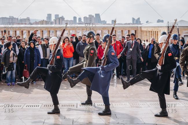 Ankara, Turkey - March 3, 2019: Tourist attraction - marching soldiers at the Ataturk Mausoleum - An?tkabir