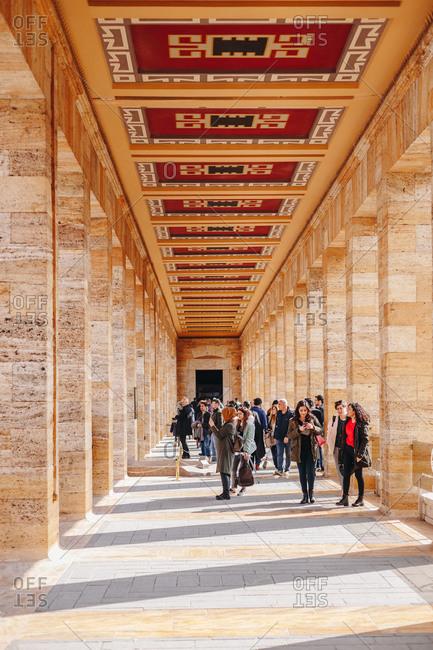 Ankara, Turkey - March 3, 2019:  View of beautiful corridors at the Ataturk Mausoleum - An?tkabir