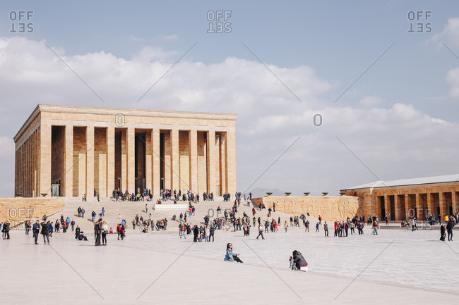Ankara, Turkey - March 3, 2019:  View of beautiful Ataturk Mausoleum - An?tkabir