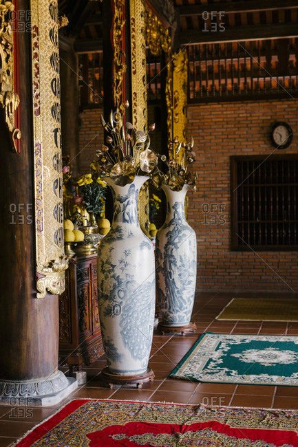 Phu Quoc, Vietnam - January 19, 2019: Two vases in a Chinese-style temple in Vietnam