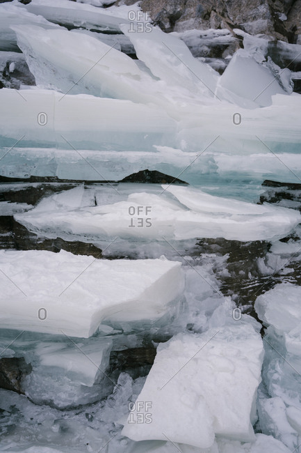 Large pieces of ice on the lake in winter.