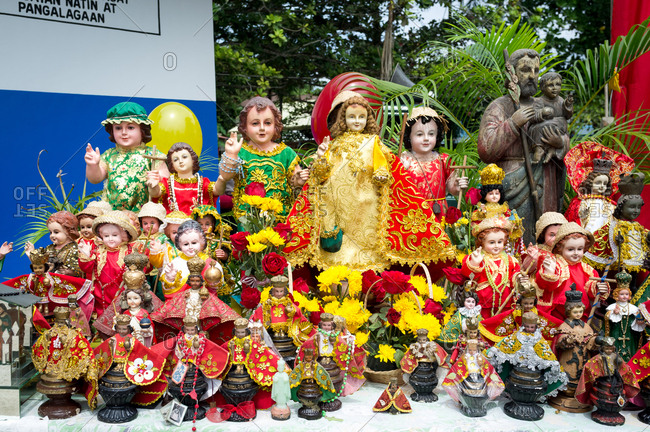 January 26, 2019: Numerous sacred images of The Santo Nino. Panglao Island, Bohol, Philippines