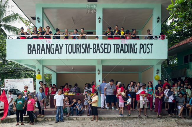January 26, 2019: People waiting The Santo Nino�s parade. Panglao Island, Bohol, Philippines