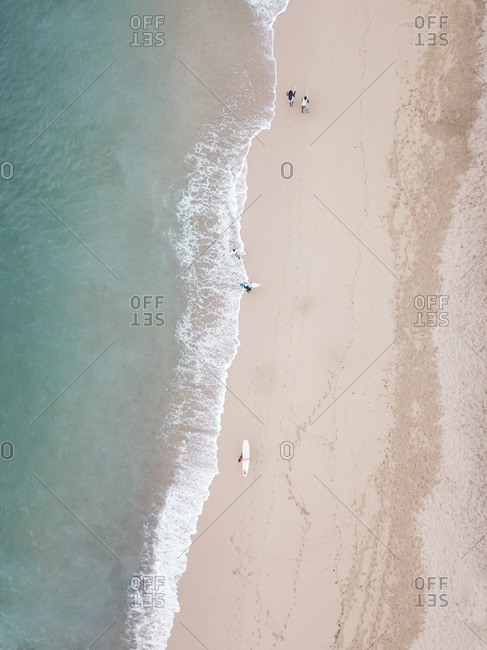 Aerial view of surfers at the beach
