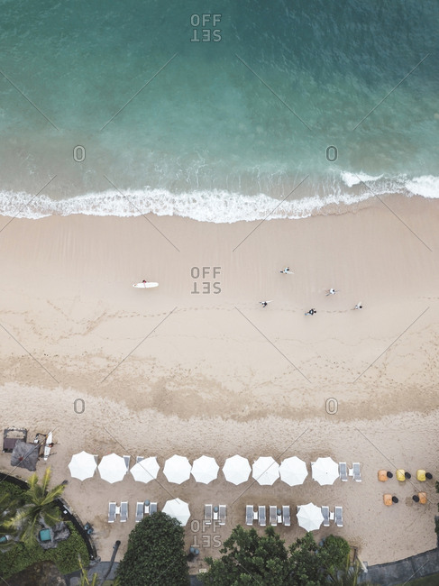 Aerial view of surfer at the beach