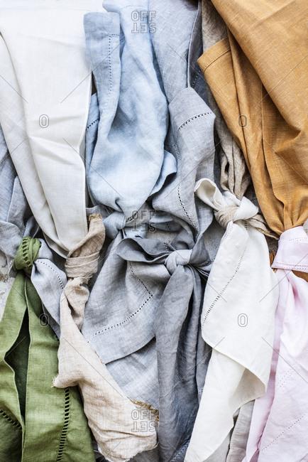 Linen fabrics tied in knots