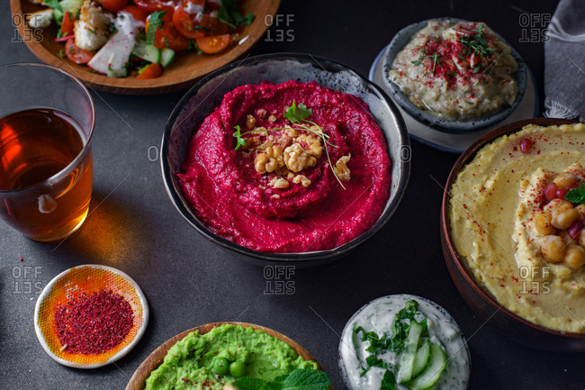 Israeli cuisine: hummus variety, fattoush, baba ganoush