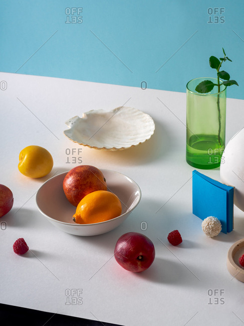 Creative layout with fruits and objects