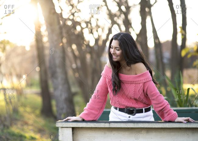 Beautiful brunette girl on a bridge in the woods.