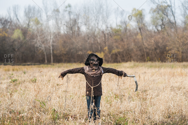 Boy poses in scarecrow halloween costume in field