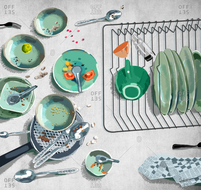 Top view of dishes