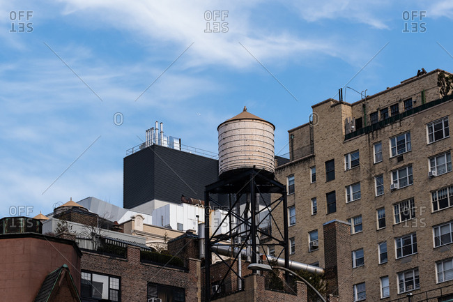New York City - USA - Mar 14 2019: Water tower on the top of a building in Gramercy Park neighborhood New York City