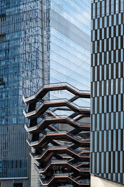 New York City - USA - Mar 14 2019: Hudson Yards is a real estate development in the Chelsea and Hudson Yards neighborhoods of Manhattan, New York City. It is the largest private real estate development in the United States by square footage.
